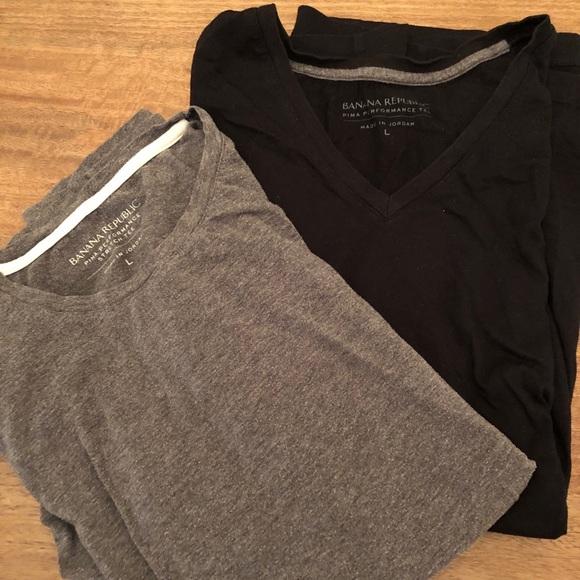 Banaba Republic t-shirts x2 (black and gray) L